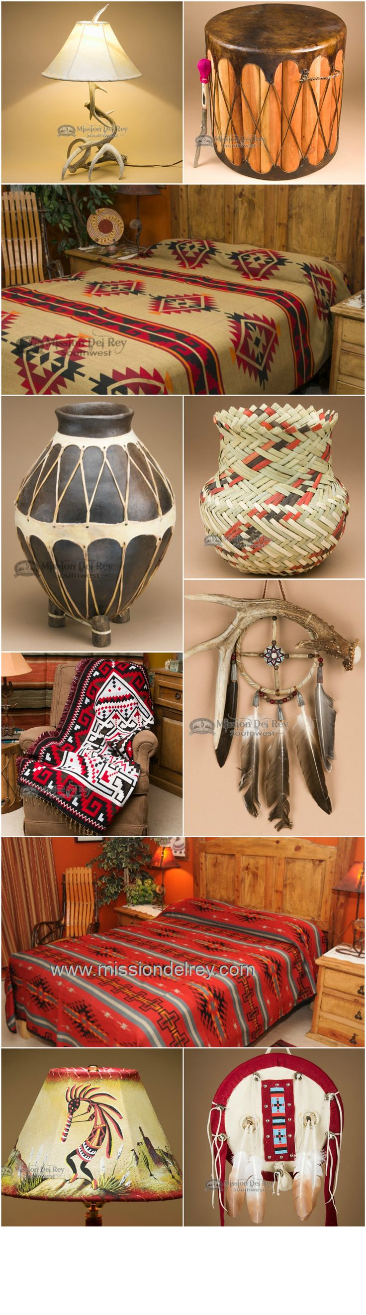 Find the perfect home decor accents for your rustic, southwestern, or western home.  Choose from a wide variety of western bedding, Native American pottery, southwestern baskets, rustic lamps and Native American dream catchers for southwest home decor.  Visit us at http://www.missiondelrey.com/