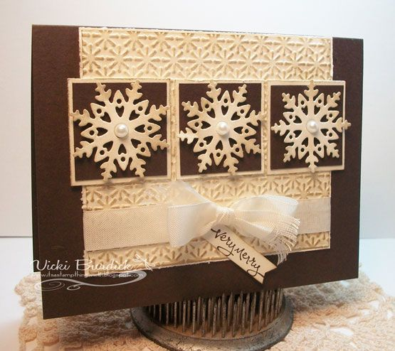 Love the brown and vanilla combo for this pretty handmade Christmas card.