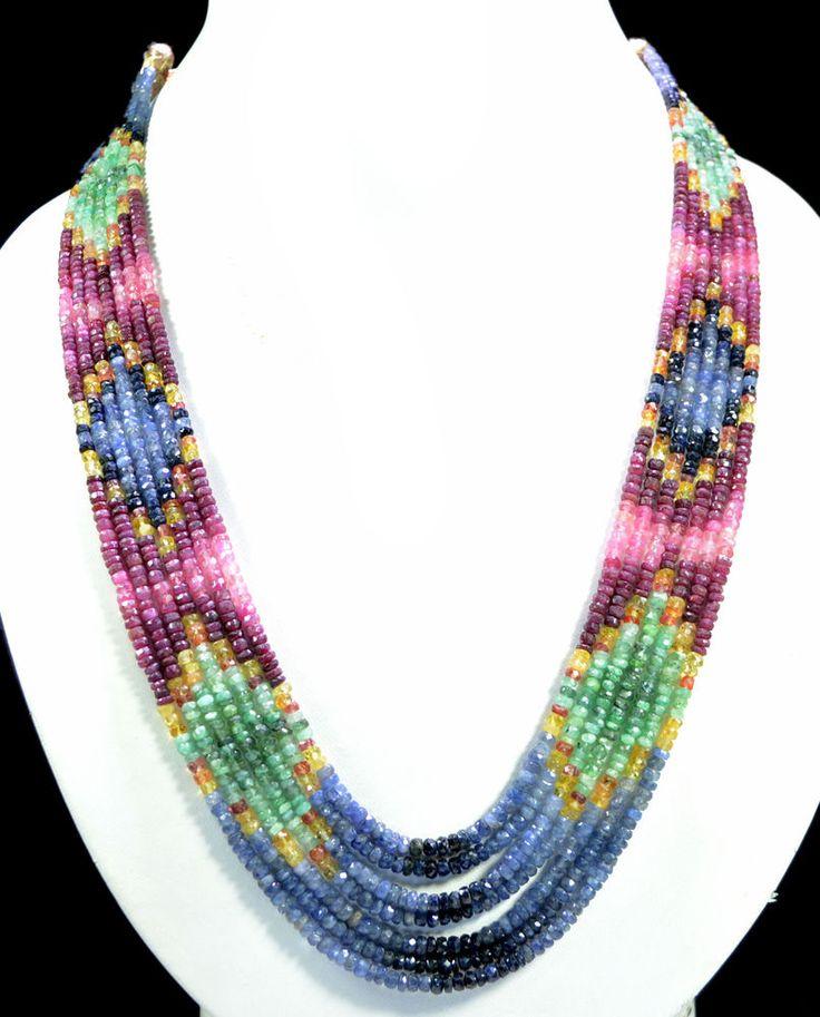 7 Strands Natural Ruby Emerald Sapphire 409ct Multi Row Gemstone Beads Necklace #KrishnaGemsNJewels #StrandString