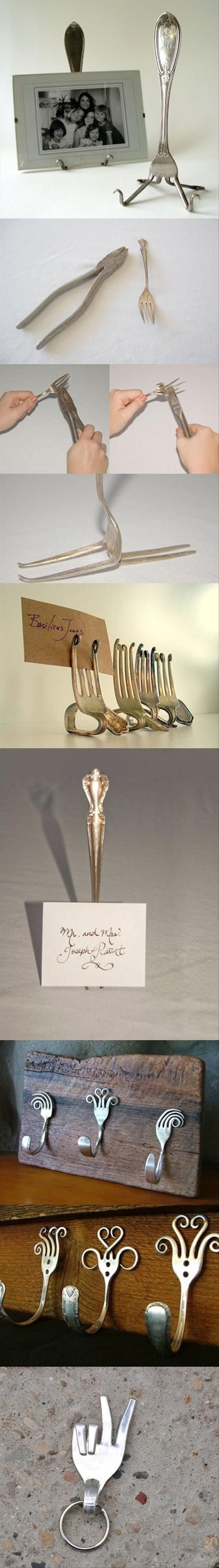 Fun Do It Yourself Craft Ideas – 45 Pics  (they make it look so easy to bend the fork and curl it...trust me, it KILLS your grip!  I've made flatware mobiles using forks and spoons!  Still, it's fun/pretty to use old flatware)
