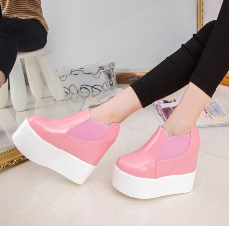 Womens 13Cm Hidden Heel Wedge Platform Creepers Casual Slip On Shoes Pink  Q4217