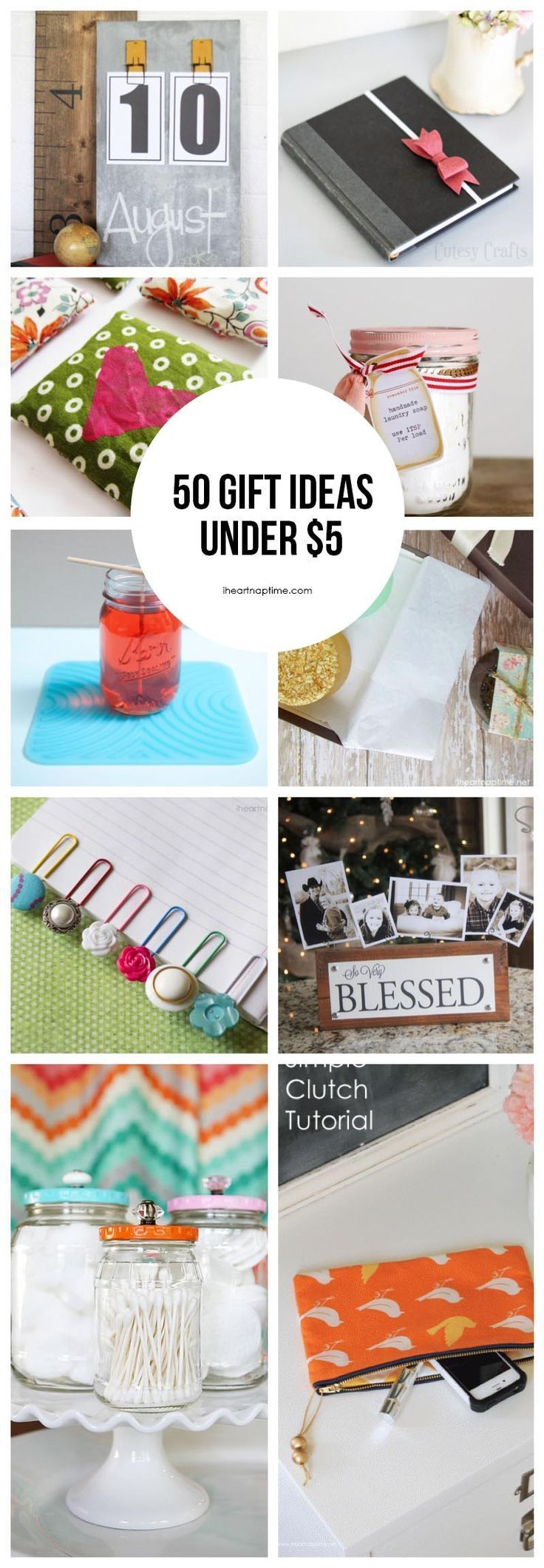 50 homemade gift ideas to make for under $5 featured on iheartnaptime.com ...love all of these ideas!