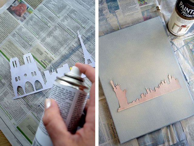 Make your own: City Silhouette Canvases...could be cute...one big paris one for over the bed?