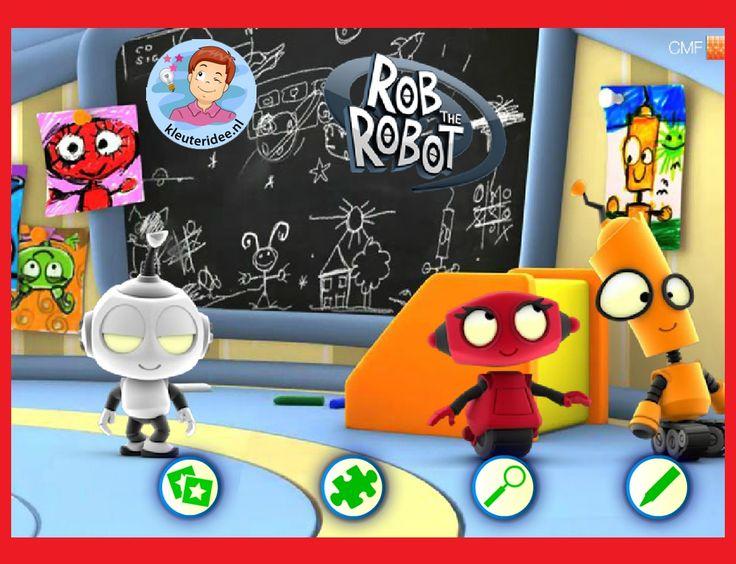 Spelletjes met Rob de Robot , 'Raar, maar waar', kinderboekenweek 2015, met kleuters op digibord of computer op kleuteridee.nl