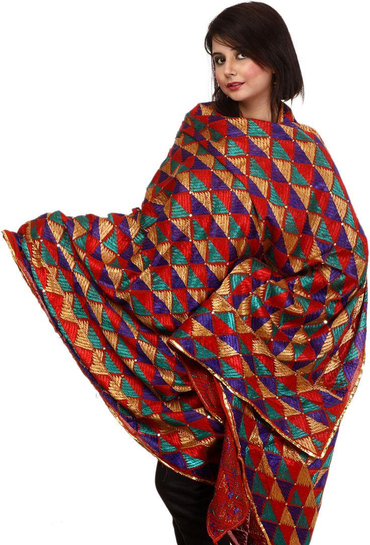 multicolor phulkari dupatta from Punjab
