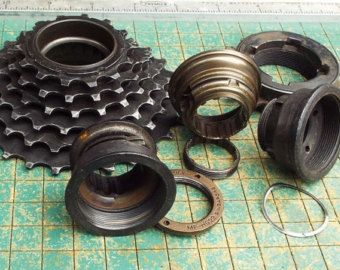 old Bicycle parts, gear cluster, 6 speed stack,Single Speed Freewheel, repurpose, found art, industrial art