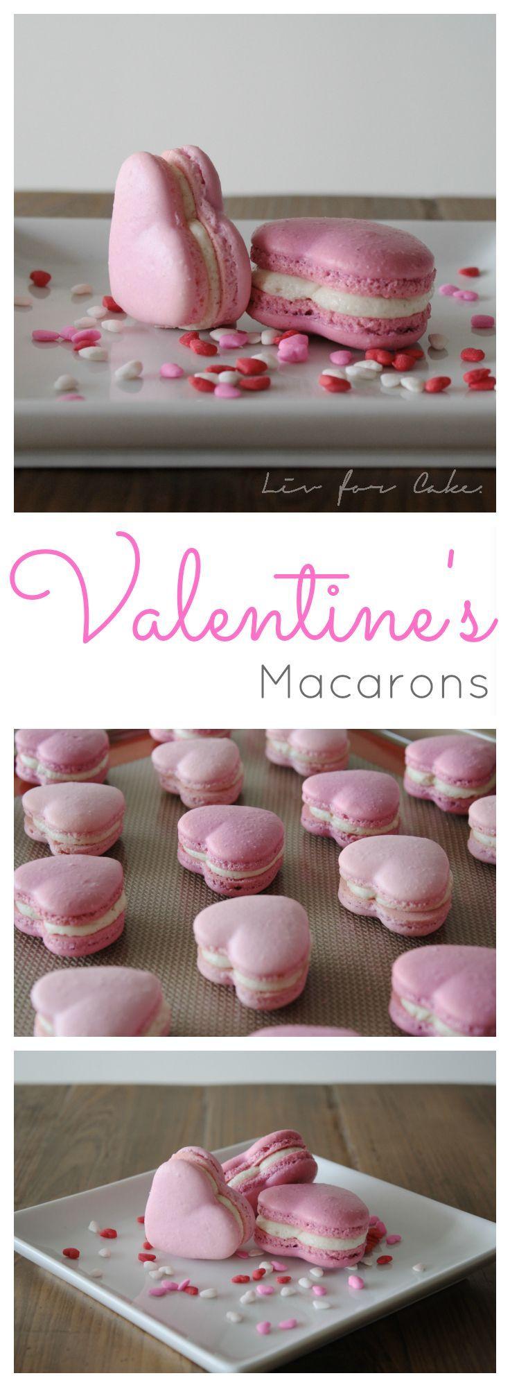 Macarons pour la St-Valentin (en anglais) #recette #stvalentin Valentine's Macarons | livforcake.com