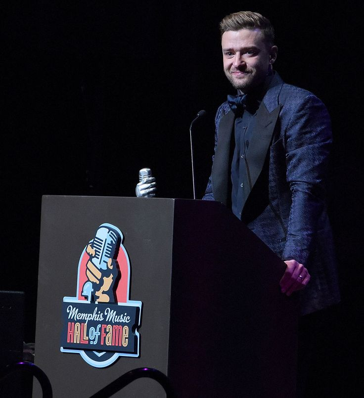 "Justin Timberlake Wipes Away Tears, Thanks His ""Rock"" Jessica Biel During Memphis Hall of Fame Induction from InStyle.com"