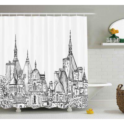 "Ebern Designs Blondelle Sketchy Art Landmark Shower Curtain Size: 69"" W x 75"" L"