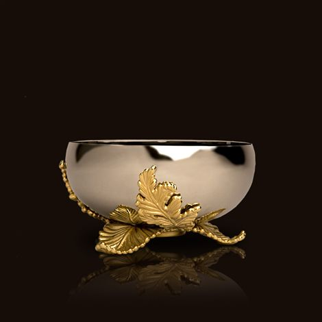 Lobjet lamina collection stainless bowl with acanthus leaf base