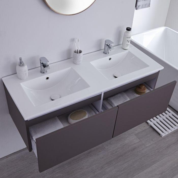 Milano Oxley Grey 1200mm Wall Hung Vanity Unit With Double Basins Vanity Units Wall Hung Vanity Modern Bathroom Vanity Bathroom modern vanity units milano