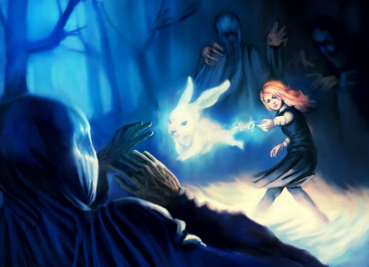 Lovegood's patronus- love the imagery of evil cowering from a bunny