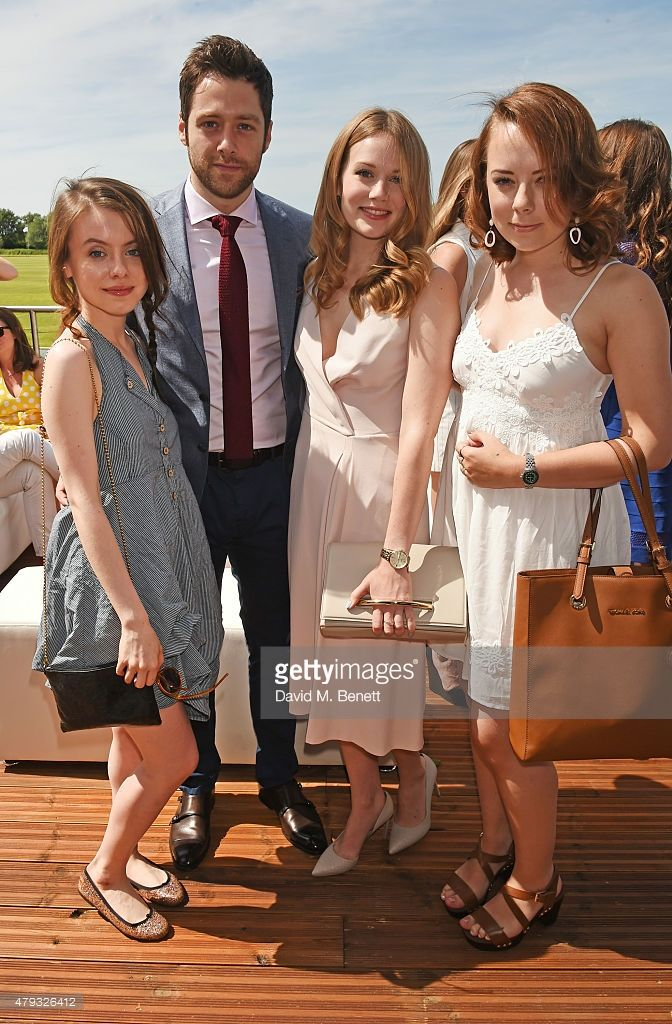 3 July 2015 | Richard Rankin with Outlander's Rosie Day, The Syndicate co-star Cara Theobold and Alice Sykes at the Audi Polo Challenge 2015 at Cambridge County Polo Club, Cambridge, England