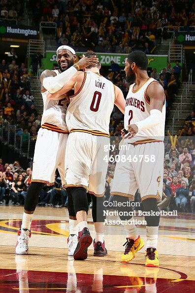 Lebron James,  Kevin Love and Kyrie Irving
