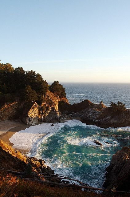 McWay Falls in Julia Pfeiffer Burns State Park, Big Sur coast of Monterey County, California  #sea #ocean #beach