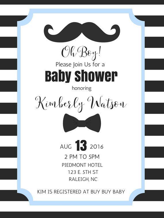 Invitación de bigote muchacho bebé ducha por FreelyFatimaDesigns