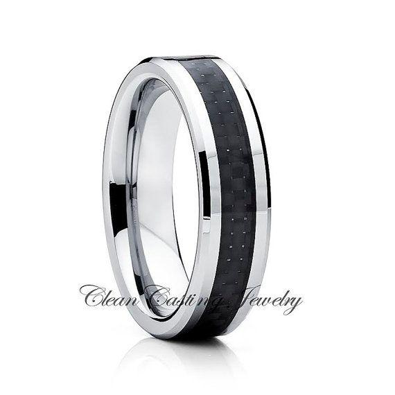 Tungsten Wedding BandCarbon Fiber RingBeveled by CCJ1996 on Etsy