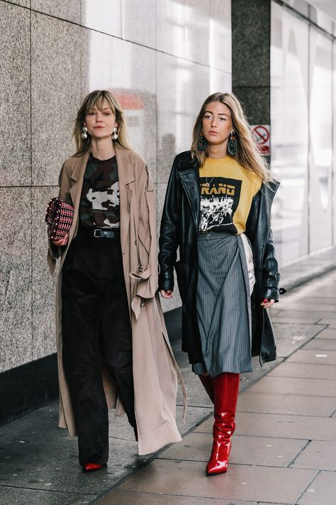 Graphic Tee with Skirt | Red Knee High Boots | New York Fashion Week Style Runway Trench Coat Duster | Trendy Style Outfit