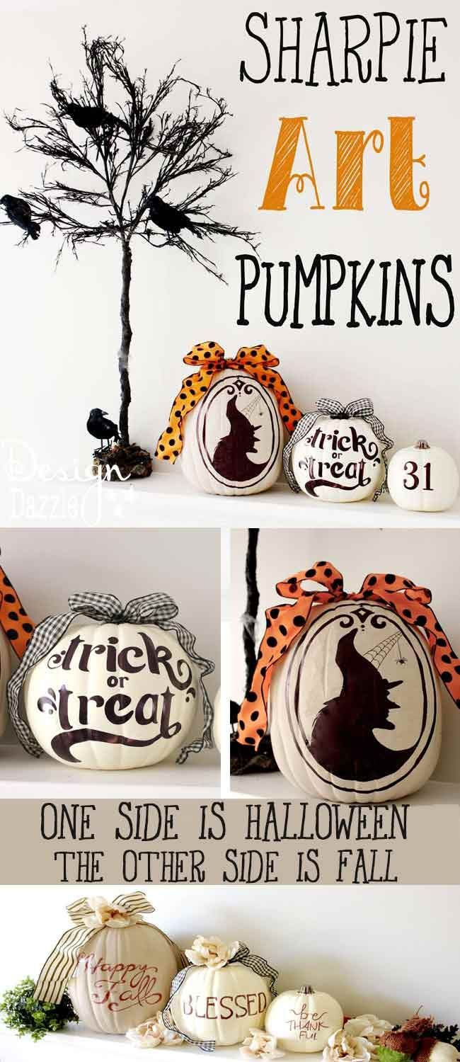 These are super fun to make! The most AWESOME idea about these pumpkins is they are TWO-SIDED! One side is for Halloween and one side is for Fall!!