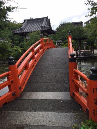 red bridge in the temple