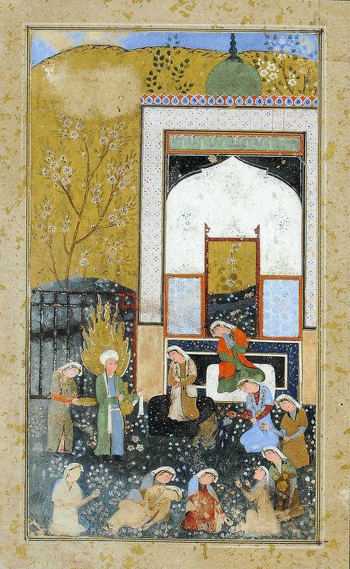 ZULAYKHA'S ATTENDANTS CUT THEIR FINGERS WHEN YUSUF WALKS IN SAFAVID IRAN, 2ND HALF 16TH CENTURY