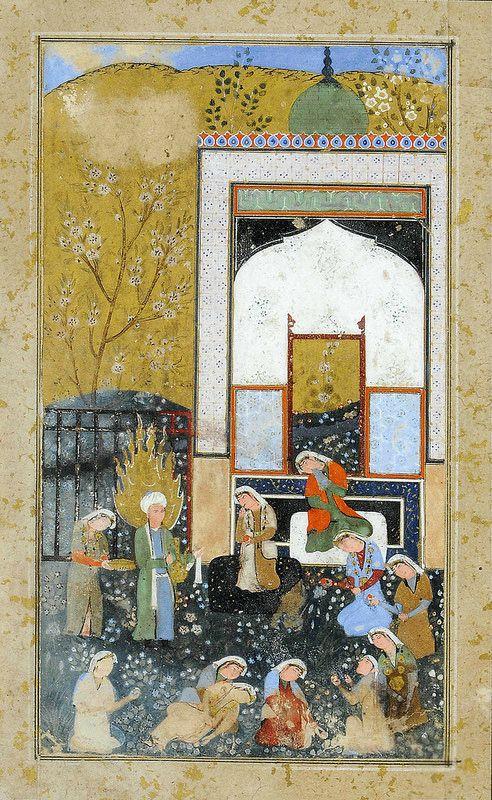 ZULAYKHA'S ATTENDANTS CUT THEIR FINGERS WHEN YUSUF WALKS IN SAFAVID IRAN, 2ND HALF 16TH CENTURY