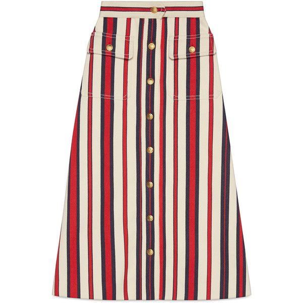 Gucci Striped Denim Long Skirt ($1,375) ❤ liked on Polyvore featuring skirts, denim, ready-to-wear, women, stripe maxi skirt, ankle length skirt, long skirts, denim skirt and gucci skirt