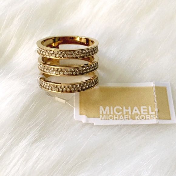 Michael Kors NWT Three Band Ring Gorgeous piece: three bands stacked with stones! NWT no flaws! Michael Kors Jewelry Rings