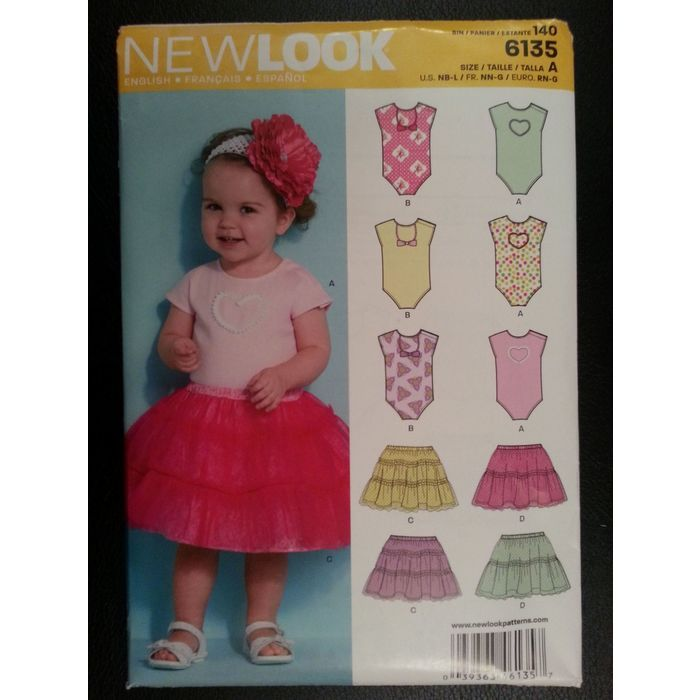 New Look 6135 Baby Bodysuit, Skirt sewing pattern sizes Newborn - Large Listing in the Childrens,Sewing,Patterns,Sewing,Crafts, Handmade & Sewing Category on eBid Canada | 151886693