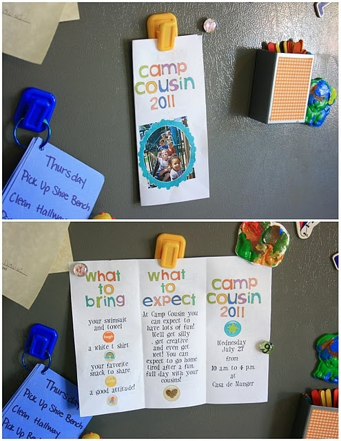 Cousin Camp or camp friends, great idea and 1 day a week, different house every week, each parent comes up with its own camp ideas and hosts