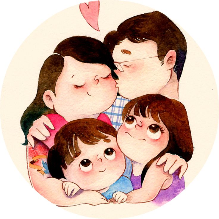 посты, красивые семейные мультяшные картинки они подбирали
