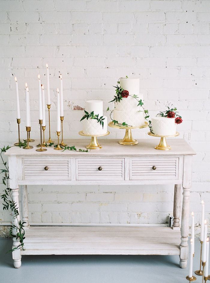 Vintage Cake Table with a Trio of Desserts and Taper Candles