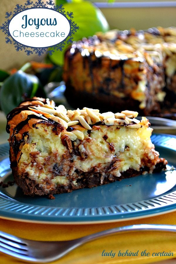 Joyous Cheesecake. This cheesecake is full of chocolate, almond and coconut flavor.