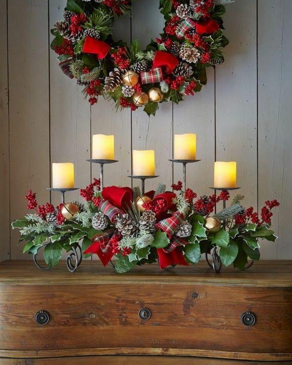 Neue Weihnachtsgestecke selber machen kaminsims