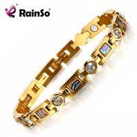 Rainso Bio Energy Bracelet with 3 Smart Buckles Magnet Bracelet Health Care Elements Gold Bracelets For Women Girlfriend Gift