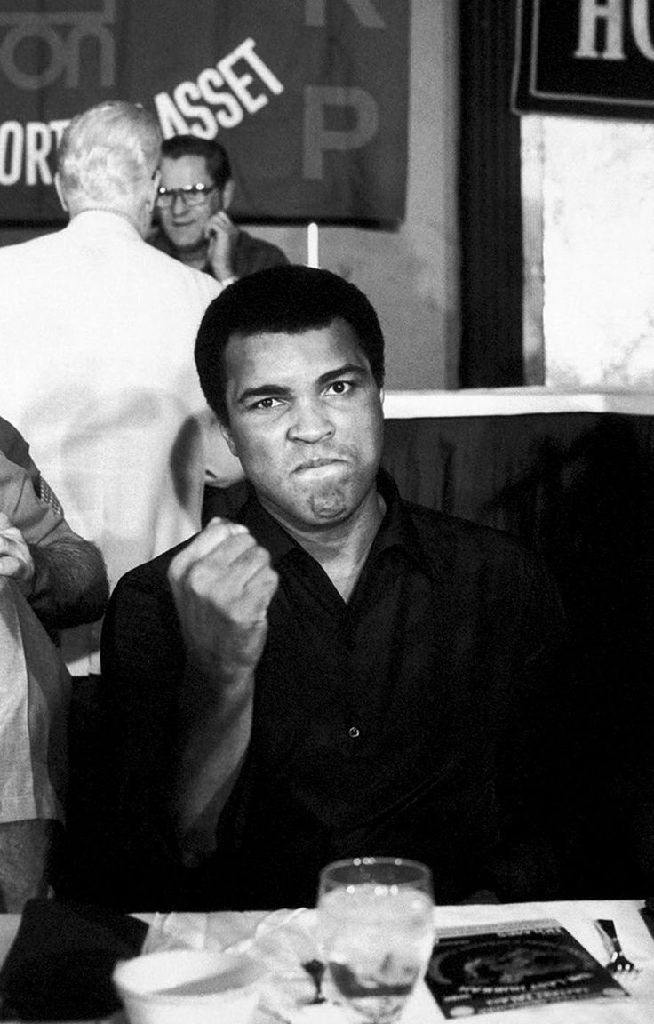 Muhammad Ali.  Don't mess with a man when he is getting ready to eat..