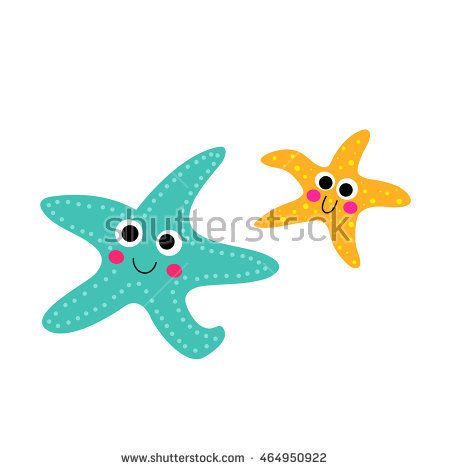 Smiling Starfish animal cartoon character isolated on white background.