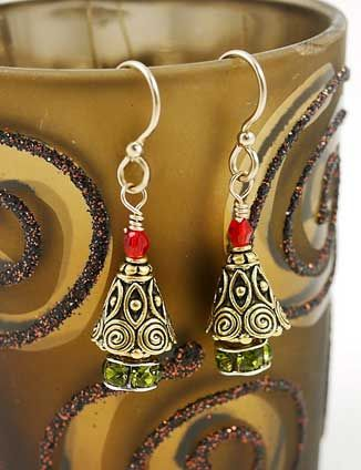 Yule Tree Earrings featuring TierraCast Spiral cones and 4mm Scalloped bead caps. Design by Vicki Hubbard & Sara Jean, Purple Sage Beads, Saginaw, MI
