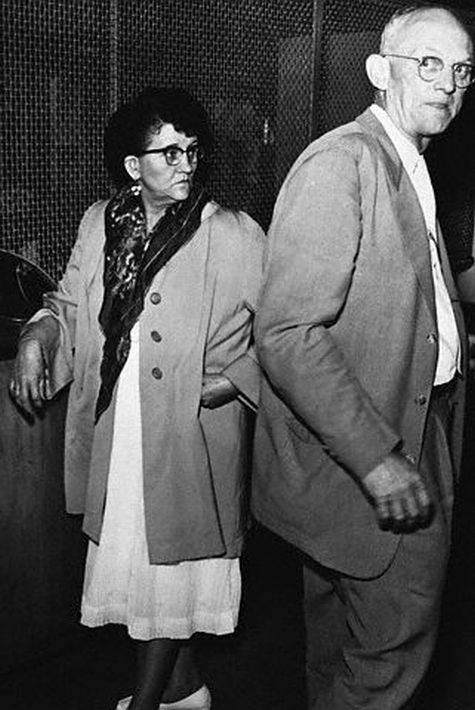Mrs. Rhonda Bell Martin, 49 year old waitress. Arrested on charges of killing 1 of her former husbands. Later, Mrs. Martin admitted killing 2 of her 5 husbands, 3 children, her step son, & her mother with arsenic poisoning. (1956)