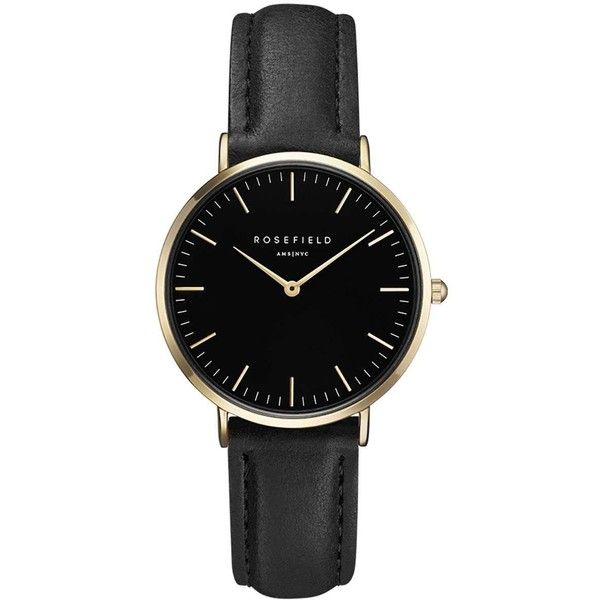 The Tribeca Black and Gold Watch by Rosefield (7,085 INR) ❤ liked on Polyvore featuring jewelry, watches, accessories, bracelets, fillers, black, black gold jewelry, metal jewelry, black gold jewellery and rosefield watches