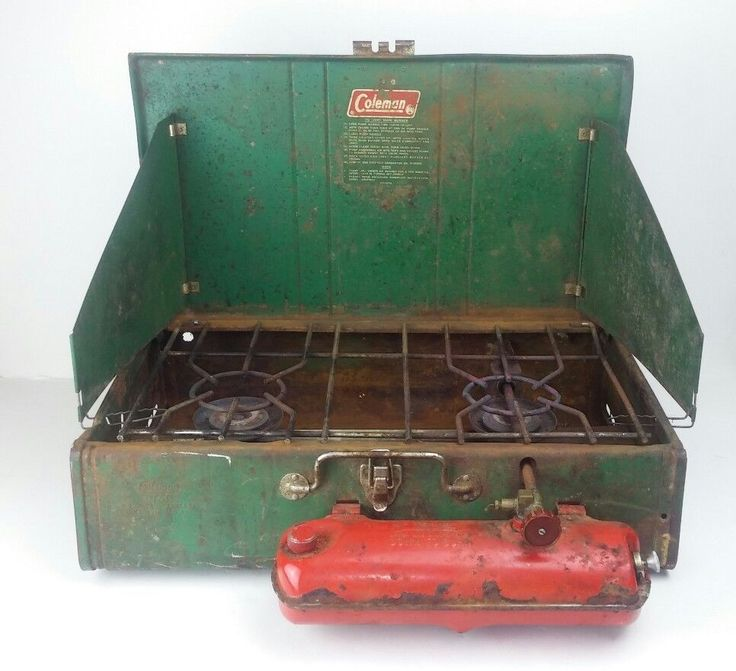 Coleman Camping Gas Stove 413G Two Burner Vintage Green Metal 10 / 73 Portable #Coleman