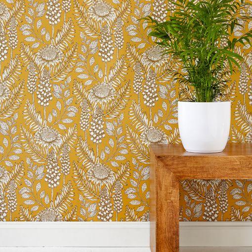 Muscari Mustard Wallpaper In  Cc House Pinterest Mustard Wallpaper Wallpaper And Designer Wallpaper