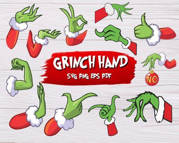 Grinch Hand Svg Monogram Design Silhouette Decal Vector Christmas Grinch Svg Dxf Cricut Silhouette Digital Printab Grinch Hands Grinch Christmas Svg