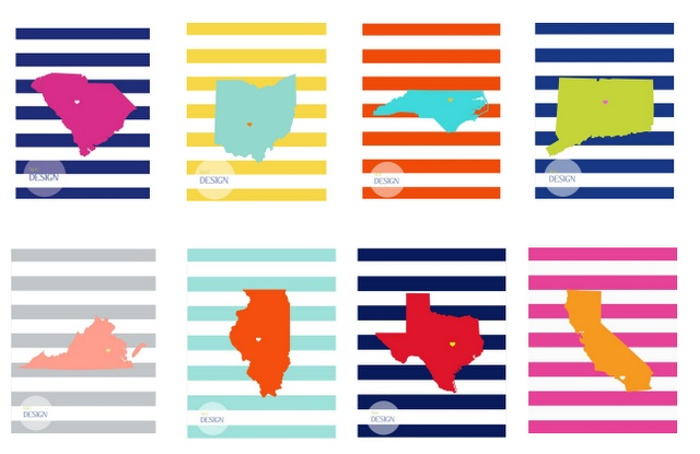 Free printable: find your state or country!  Want these for all the different places we've lived.