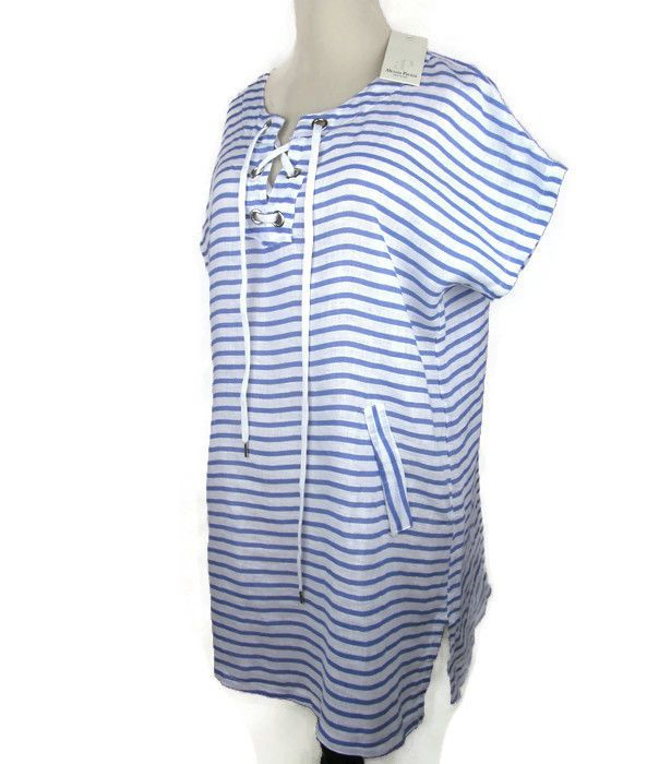 6b57444571 Alessia Pacini Large L Beach Swim Cover Up Caftan Tunic Linen Made in Italy