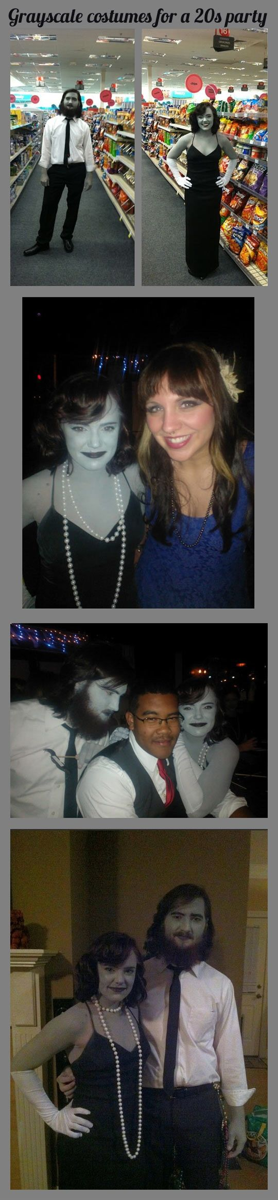 Grayscale costumes for a 20s party--This is awesome!