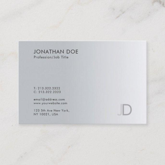 Professional Monogram Silver Look Elegant Template Business Card Zazzle Com Professional Business Cards Templates Business Cards