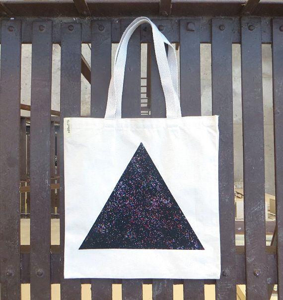 Screenprinted Glitter Canvas Tote Bag Triangle black