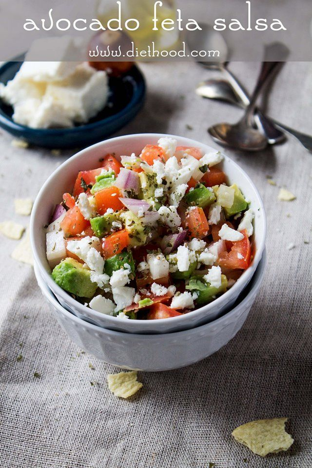 Avocados, tomatoes, and feta cheese combined to make a chunky, savory, delicious summer salsa.