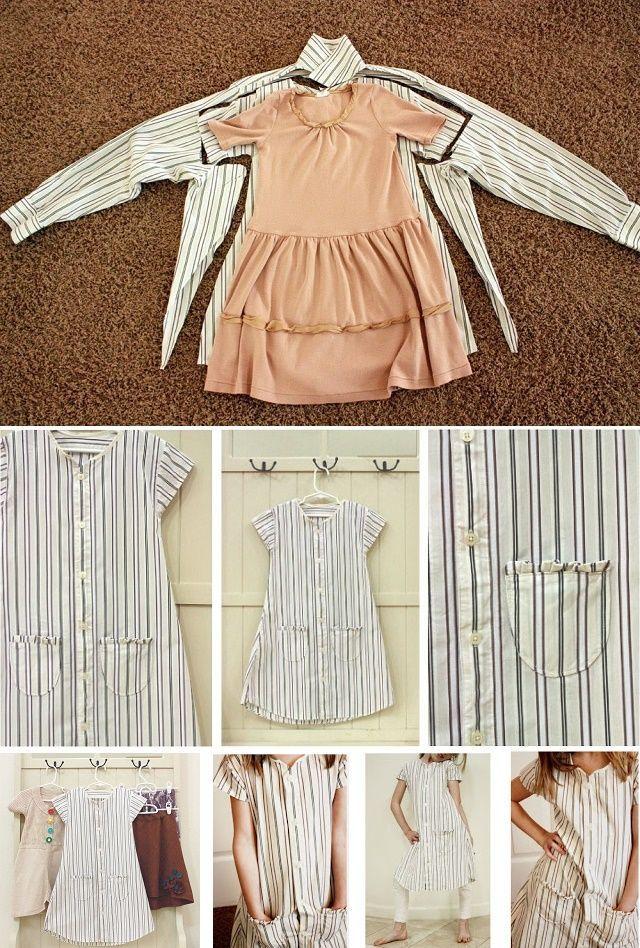 Real tutorial for men--dress. Baby Girl Dress Upcycled from Men's Shirt - DIY